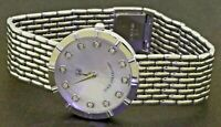 GMT designer heavy 18K WG .24CTW VS/F diamond MOP dial quartz men's dinner watch