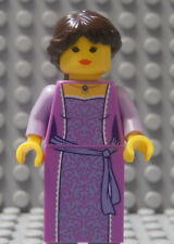 LEGO Castle Princess Girl Female Lady Queen Lavender Dress Brown Hair , As Shown