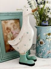 25cm Shabby Chic Duck With blue Wellies Decorative Sculpture Ornament Figurine