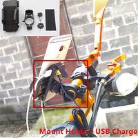 Universal Waterproof Motorcycle Bike Phone Handlebar Mount Holder+USB Charger
