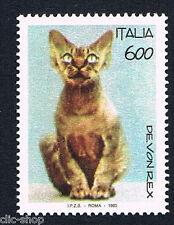ITALIA 1 FRANCOBOLLO ANIMALI IL GATTO DEVON REX 1993 nuovo**