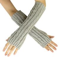 Women Fingerless Lace Gloves Soft Knitted Warm Long Mitten Wrist Warmer Winter