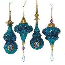 Set of 4 Glittered Peacock Icicle Ornaments w