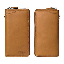 Men Long Bifold Travel Organiser Leather Zip IDCard Money Passport Holder Wallet