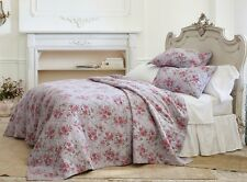 Simply Shabby Chic Purple Rose Linen Blend Full Queen Floral Quilt New