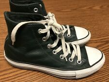 Converse All Star Dark Green White Leather Hi Top Shoes Men's Size 6 Women's 7