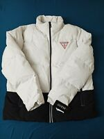 Guess Logo White/Black Bomber Jacket - XL
