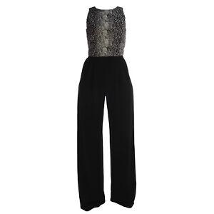 MAX MARA Women's Cele Black Snake Print Wide Leg Jumpsuit Sz 2 NWT