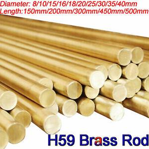 150/200/450/500mm long H59 Solid Brass Round Bar Rod 10 16 25 30 35 40mm Metric