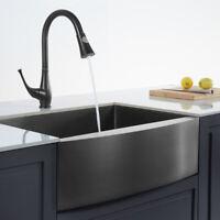 "33"" Stainless Steel Farmhouse Kitchen Sink Black Modern Single Bowl Apron Sink"