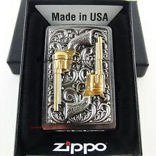 Emblema de la m de la encendedor REVOLVER de oro ZIPPO Stiftvergoldet Colt arma nuevo caja original