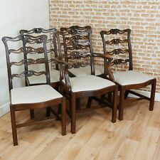 Vintage Set of 5 Hepplewhite Carved Solid Mahogany Dining Chairs C1950 Antique