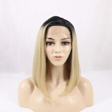 """12""""Natural Looking Short Bob Lace Front Wig Synthetic Blonde Ombre Wig For Women"""