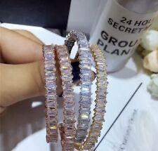 18K Gold Trendy Open Bangle Bracelet made w/ Swarovski Crystal Baguette Stone