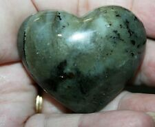 "Labradorite Gemstone Carved Heart 53gr 2."" x 1.75"" 42017 B64L"