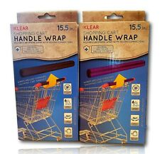 X2 Klear Shopping Cart Handle Wrap Black & Purple Pack Of 2 Reusable Guard Cover