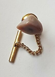Gold Coloured Vintage Tie Pin with Chain Grey Gem Stone