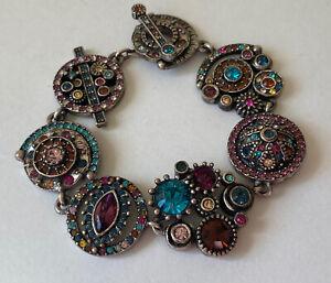 Stunning Patricia Locke Silver Tone Swarovski Multi-Color Crystals Bracelet 2009