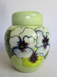 Moorcroft Pottery Ginger Jar & Cover. Pansies Design. Lid Damaged. 16cm tall