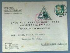 NED. INDIE Luchtpost per Zilvermeeuw Amsterdam-Batavia 18-12-1933 BC08