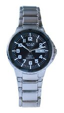 OMAX Men's Silver Metal Black Dial Swiss Wrist Watch Analog Quartz Day Date