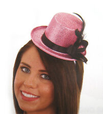 Pink Glitter Mini Top Hat with Black Band Sexy Women Adult Halloween Costume Hat