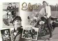 Elvis Presley On His Motorcycle, Smile, Hat, Necktie -- Transportation Postcard