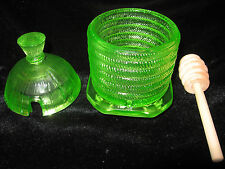 Green Yellow Vaseline glass serving honey pot bee hive mustard jar uranium dish