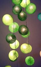Mixed Greens Cotton Ball BATTERY LED Fairy Lights 20 Light Balls Uses 3 x AA