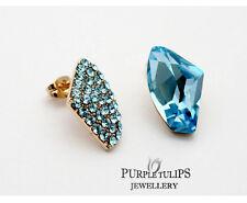 18ct RoseGoldGPLight Sapphire MadeWith SwarovskiCrystal asymmetric Stud Earrings