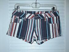 Almost Famous Striped Shorts Blue White Red Size Juniors 5 NWOT