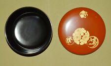 Japonais Porcelaine Bol Art Ancien Laque Chrysanthème or Bambou Japon