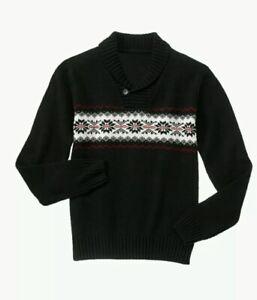 Gymboree Men's Dad Black Very Merry Sweater Fair Isle Matching Shawl Collar Sz L