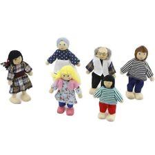 6 Lovely Family Dolls Playset Wooden Figures Set for Children House Pretend Gift