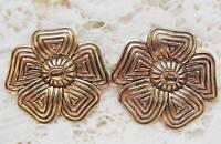 Vintage Gold Tone Ornate Pierced Earrings