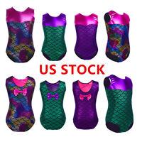 US Kids Girls Shiny Mermaid Ballet Dance Leotard Gymnastics Jumpsuits Dancewear
