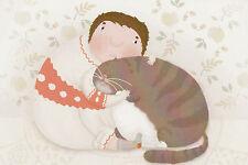 VERY RARE Boy hugs fat cat by Julia Gip Russian modern postcard