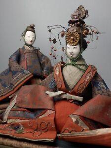 JAPANESE ANTIQUE PAIR HINA NINGYO EMPREROR EMPRESS DOLL GOFUN WOOD KIMONO TIARA