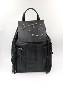Henry Cuir Beguelin Black Leather Large Flap Backpack Tassel Studded Beaded Bag