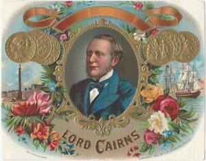 Lord Cairns Vintage Cigar Box Label with Portrait Ships Trafalgar Square Medals