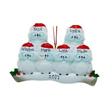 PERSONALIZE Wise Owls on Tree Branch Family of 6 Christmas Ornament Holiday Gift