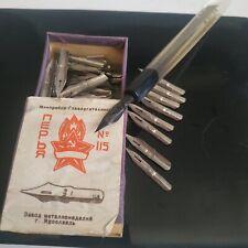 Vintage Set Soviet Fountain Pen Plexiglass Handmade