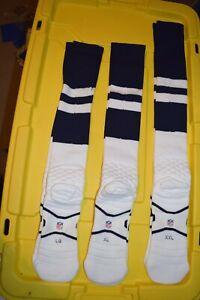 NFL Team Game Issued Navy Throwback Compression Socks Dallas Cowboys Sz LG -XXL