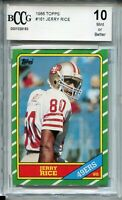 1986 Topps Football #161 Jerry Rice Rookie Card RC Beckett Graded BCCG 10 49ers