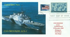USS FREEDOM LCS-1 US Navy Ship Color Photo Cached Cover First Day of Issue PM