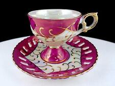 "JAPAN PORCELAIN MOTHER OF PEARL & PINK RETICULATED 2 3/4"" FOOTED CUP & SAUCER"