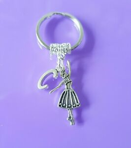 Ballet keyring with initial GIFT personalised  sports dancer dancing dance