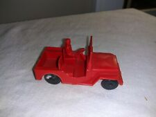 """1950s Hard Plastic Red Army Jeep with Driver 3"""""""
