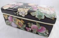 Ceramic Floral Lidded Box Black Pink Lavender Apricot Large Desk Trinket Box