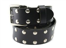 Black Genuine Leather Belt With Metal Studded Size 32
